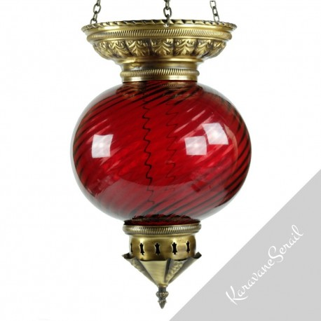 suspension salon pour ambiance chaleureuse Lampe-orientale-en-verre-soufflee-nergal-rouge