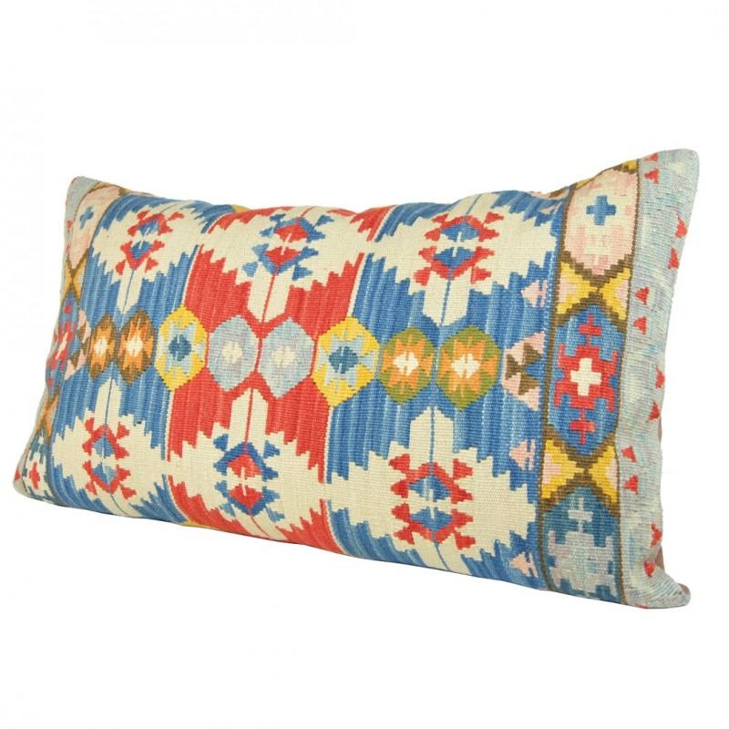 coussin anashi bleu en kilim d 39 artisanat d 39 art d 39 anatolie. Black Bedroom Furniture Sets. Home Design Ideas