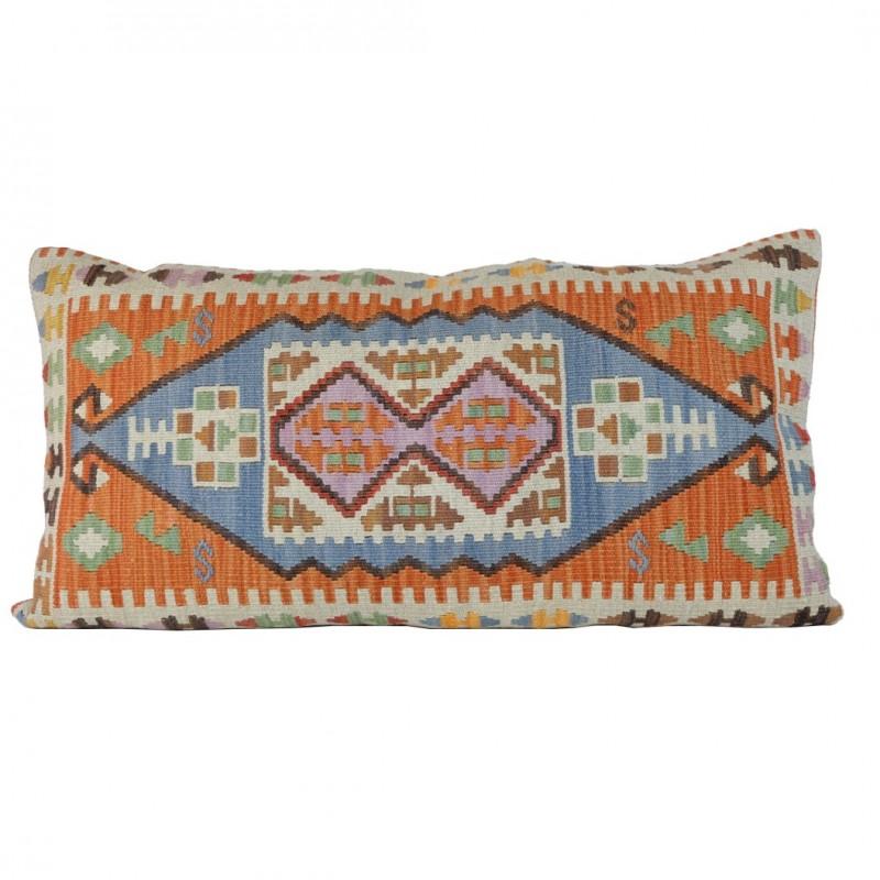 Housse de coussin sinope orange en laine et coton for Grande housse de coussin