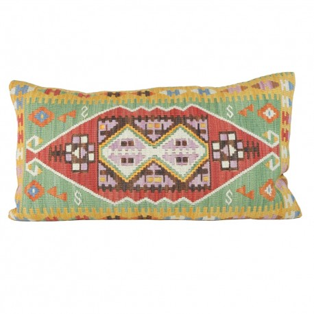 Coussin vert artisanal en kilim Sinope, idée cadeau original