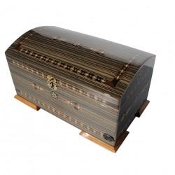Coffret oriental en bois et marqueterie Hotep gris doublé velours