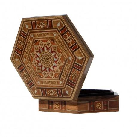 Boîte hexagonale en bois et marqueterie Khnoum, style oriental turc syrien