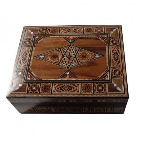 Boîte coffret oriental d'artisanat d'art en bois et marqueterie Toum