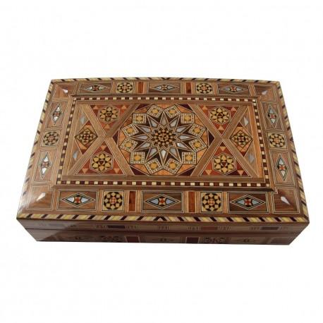 Boîte à cigare en bois et marqueterie Ptah style oriental