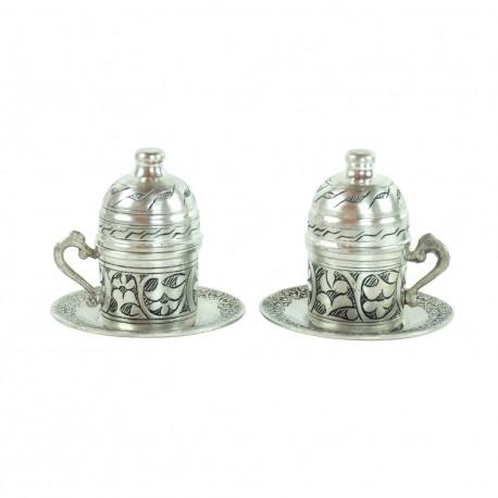 2 Tasses Bahar en cuivre engravé et de style oriental