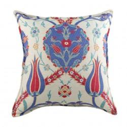 Coussin fleuri ottoman Zalpa (bleu, rouge et blanc en coton), décoration bohème