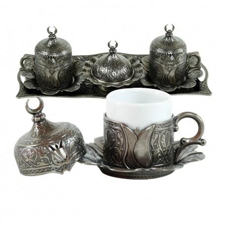 Plateau et tasses orientales à café Odjak, décoration orientale