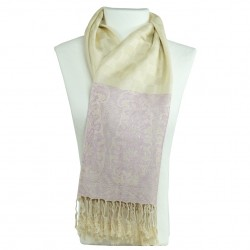 Châle Pashmina beige ivoire Hayal style boho chic