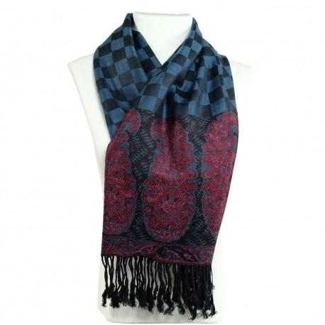 Foulard ethnique bleu gris Hayal, style bohème chic