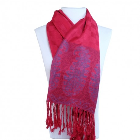 Châle foulard bohème rouge framboise Hayal