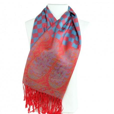 Echarpe Pashmina Hayal rouge groseille et bleu, décor ethnique