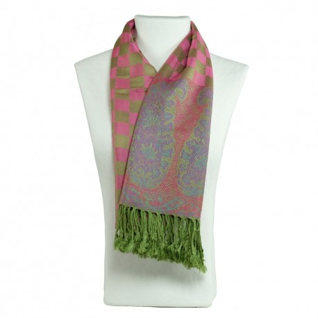 Pashmina Hayal rose, vert et or, style bohème chic