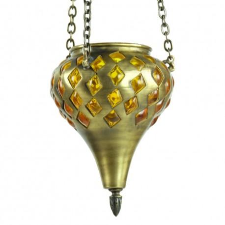 Lampe orientale décorative jaune Sin en laiton
