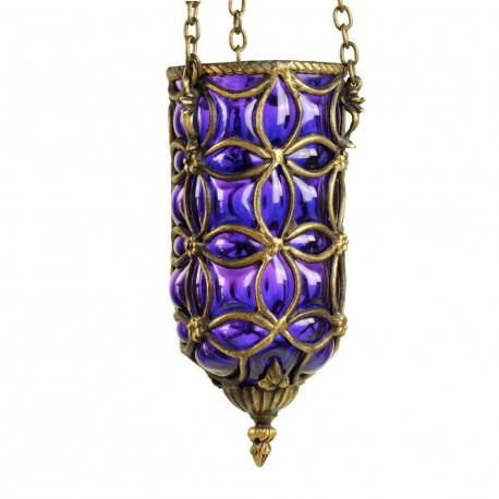 Suspension orientale vintage violette Enlil en laiton