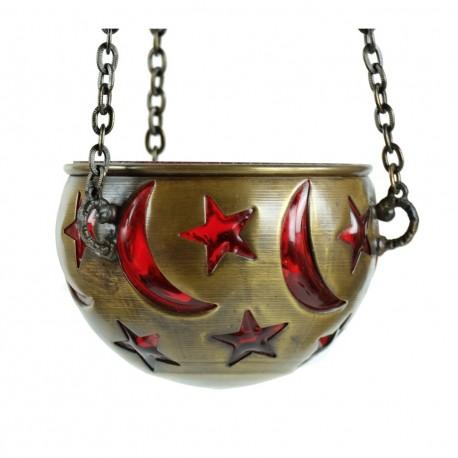 Lampe orientale déco Gad rouge, avec étoile et lune (idéal chambre d'enfant)