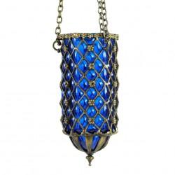 Lampe artisanale bleue Hadad en verre soufflé et laiton ciselé