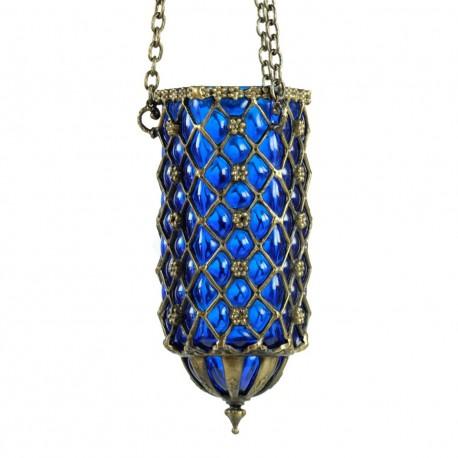 Lampe orientale artisanale bleue Hadad en verre soufflé et laiton ciselé