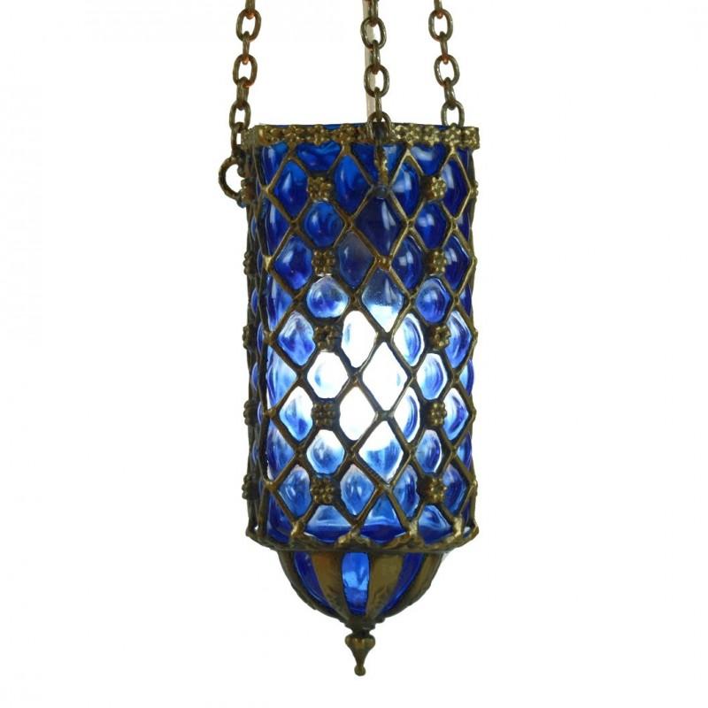 Lampe artisanale bleue hadad for Lampe en bois artisanale
