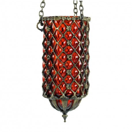 Lampe d'Orient en verre soufllé orange et laiton Hadad