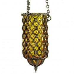Lampe en verre soufflé artisanale Hadad jaune