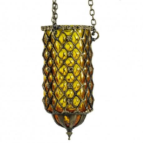Lampe orientale en verre soufflé artisanale Hadad jaune