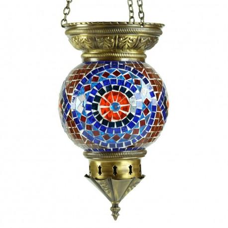Suspension turque orientale Oannès en mosaïque de verre et laiton pour décoration bohème