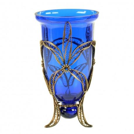 Bougeoir photophore oriental Yagûth en verre coloré bleu, un beau cadeau artisanal