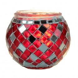 Photophore mosaïque décoratif Anshar rouge