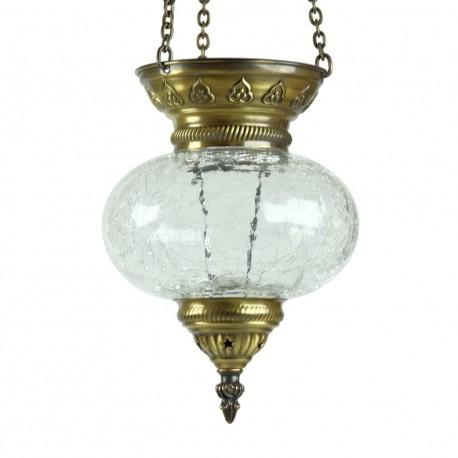 Lanterne orientale original Yarik en verre craquelé et laiton travaillé