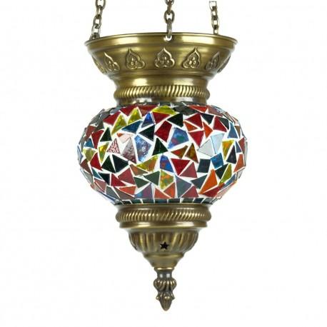 Lampe ethnique Faïs en mosaïque multicolore par KaravaneSerail
