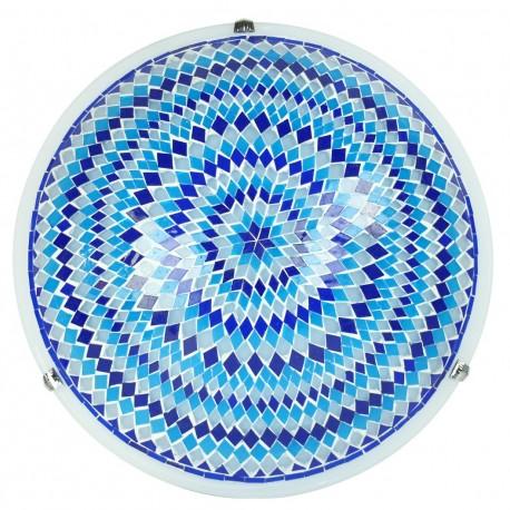 Plafonnier oriental original en mosaïque bleue Ninlil