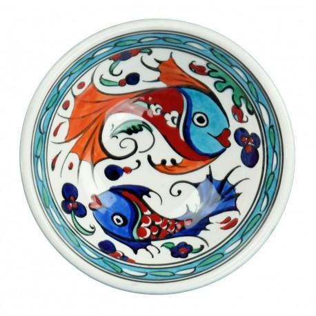 Faïence artisanale, petit bol décoré de poissons colorés Balik 12cm