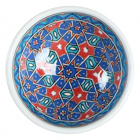 Bol en céramique orientale Seldjouk Rouge 12cm décor géométrique