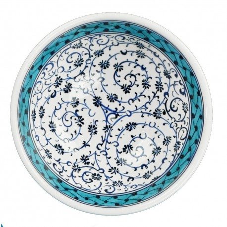 Bol apéritif Hava 12cm en céramique décoré d'arabesques et d'une frise turquoise