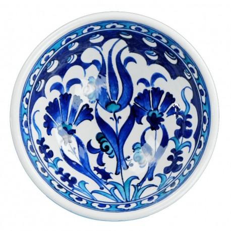 Vaisselle ethnique, Petit bol bleu fleuri Necla en porcelaine Iznik