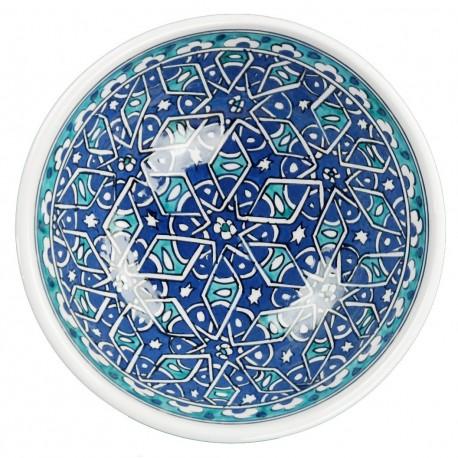 Bol à thé bleu et turquoise Seldjouk 16cm en céramique orientale
