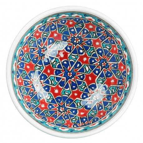 Décoration orientale, bol rouge et bleu Seldjouk 16cm, décor géométrique