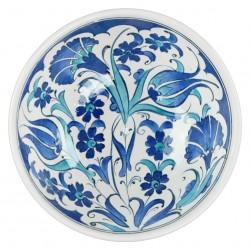 Vaisselle artisanale, Coupelle bleue Necla 16cm décorée de fleurs