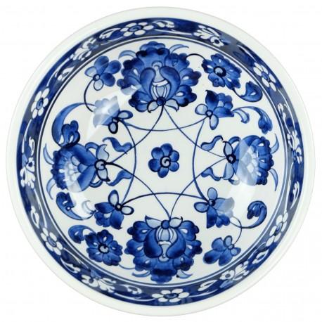 Coupelle bleue Rosa 16cm, vaisselle ethnique décorée de fleurs