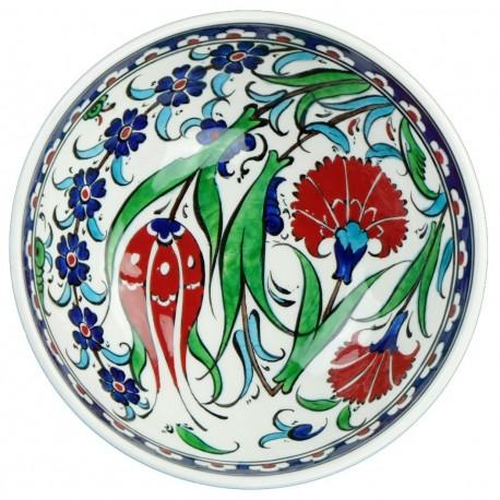 Bol ottoman Ceylan 16cm avec frise bleue et décor fleuri style Iznik