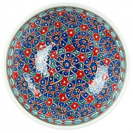 Bol au design géométrique bleu et rouge Seldjouk 20cm en faïence d'Iznik