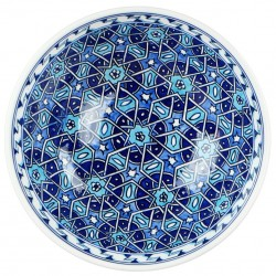 Grand bol oriental bleu Seldjouk 20cm, vaisselle marocaine