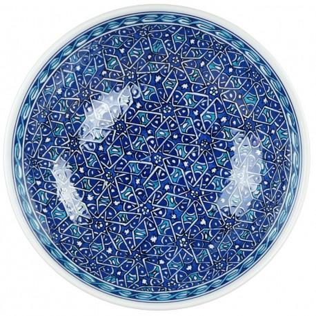 Décoration orientale, Saladier bleu et turquoise Seldjouk 25cm design géométrique