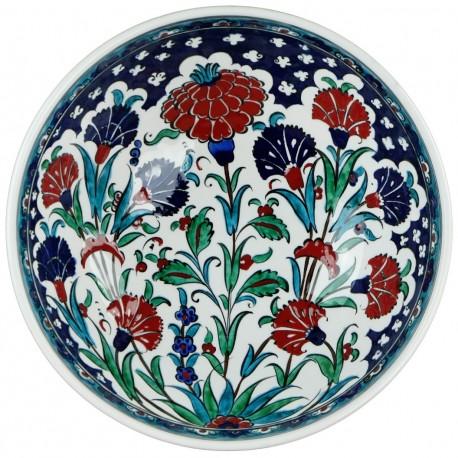 Vaisselle turque, grand bol en céramique Iznik décoré de fleurs Nihal 25cm