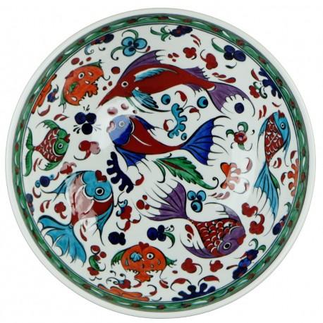 Vaisselle originale, Bol décoré de poissons Balik 25cm en céramique Iznik