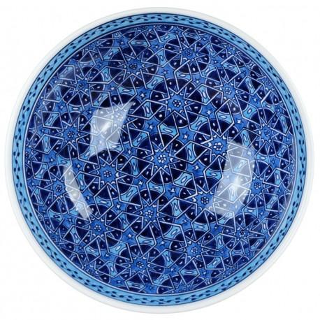 Vide poche décoratif bleu Seldjouk 25cm, bol au décor géométrique