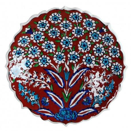 Assiette murale orientale Vichné Rouge 18cm, décoration artisanale