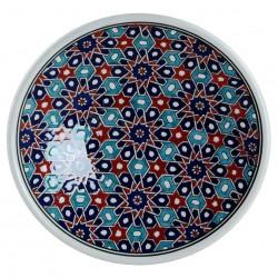 Assiette orientale ottomane Seldjouk Rouge 18cm avec motifs géométriques (style Iznik)