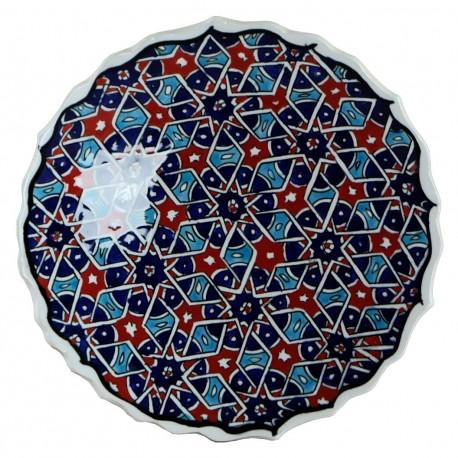 Assiette déco orientale Seldjouk rouge 18cm avec motifs géométriques