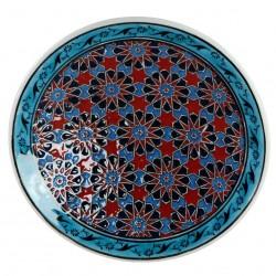 Assiette géométrique Seldjouk 18cm rouge avec frise